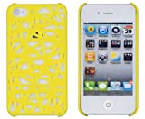 NiceEshop(TM) Yellow Interwove Line Bird's Nest style slim Snap on Hard cover case fit for iphone 4 4G 4S+Free Screen Protector +Free niceEshop Cable Tie