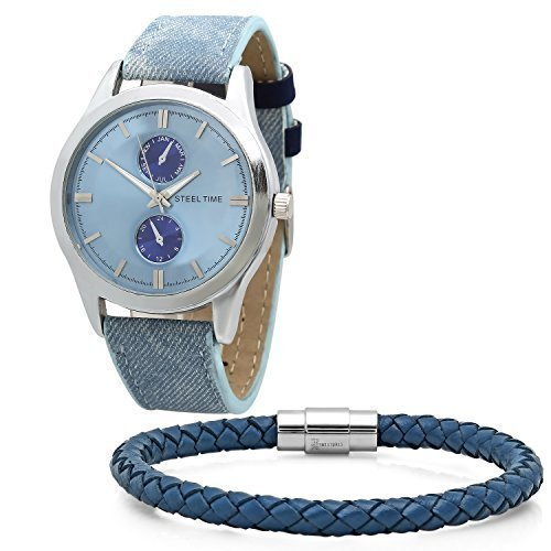 Men's Blue Watch and Matching Leather Bracelet Box Set. Alloy face, stainless steel backing, PU leather band, Japanese movement, imitation chronograph. Comes in a gift box.