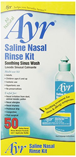 Ayr Saline Nasal Rinse Kit Soothing Sinus Wash,  50 Count Saline Nasal Rinse Mixture Packets Plus Applicator Bottle (Neti Pot Squeeze Bottle compare prices)