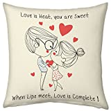 Valentine Gifts for Boyfriend Girlfriend Love Printed Cushion 12X12 Filled Pillow Light Pink Girl Boy Complete Love Gift for Love Him Her Birthday Anniversary