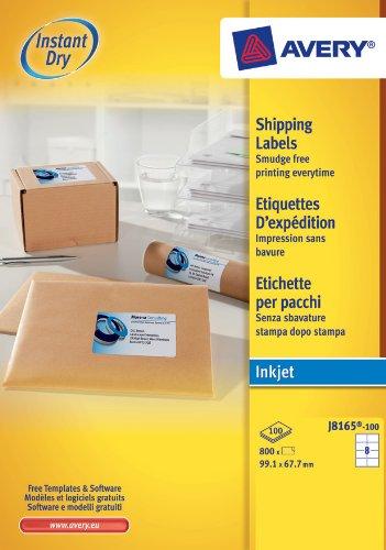 Avery Réf J8165 Étiquettes adresse Séchage instantané Jet d'encre 99,1 mm x 67,7 mm Blanc 8 étiquettes / feuille 800 étiquettes total (Import Royaume Uni)