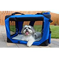 DOG PUPPY CAT PET FABRIC PORTABLE FOLDABLE STRONG SOFT CRATE CARRIER PET KENNEL CAGE BLUE LARGE 70 X 52 X 52CM *BRAND NEW*