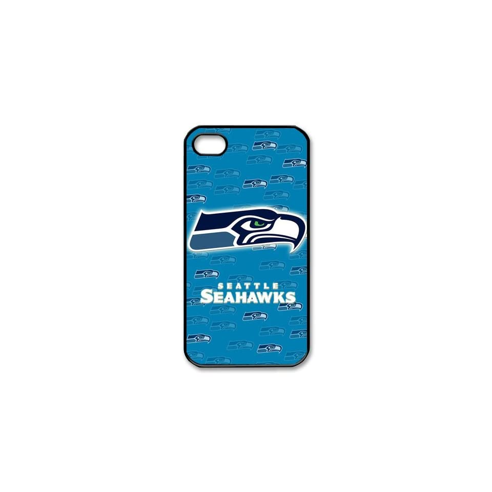 Custom NFL Seattle Seahawks iPhone 4 4s Hard Cover Case Seahawks team logo black&white