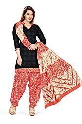 RK Fashion Womens Cotton Un-Stitched Salwar Suit Dupatta Material ( VARIETY-GANPATI-SUPRIYA-212-Black-Free Size)