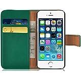 JAMMYLIZARD | Ledertasche Retro Wallet Hülle für iPhone 5 und 5S, FLASCHENGRÜN
