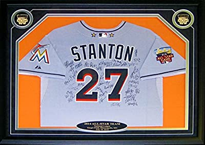 2014 National League All Star Autographed Framed Giancarlo Stanton Miami Marlins All Star Jersey