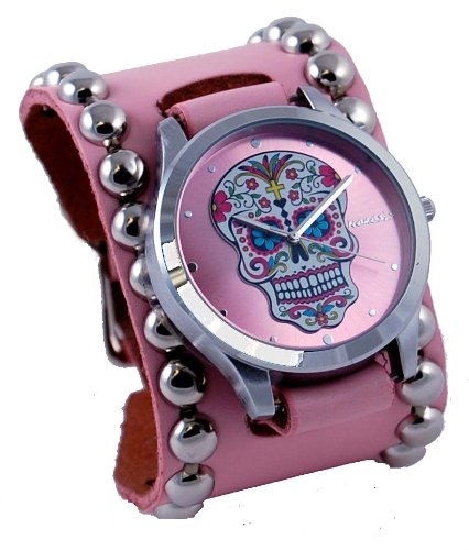 Nemesis #PSD925P Women's Pink Wide Leather Band With Tattoo Skull Watch