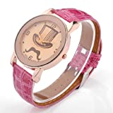Better Dealz UK Lady Mage Cap+Moustache Pettern Beige Dail Rose Gold Case Quartz Wrist Watch-Peach-Colored Lether
