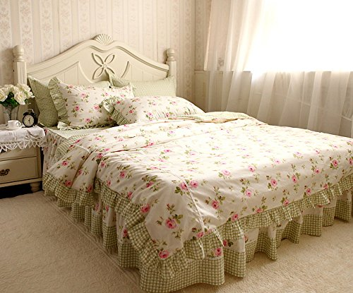 4Pcs Shabby And Elegant Roses & Grids Cotton Ruffle With Lace Bedding Set201423 (Full)