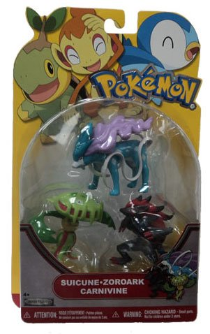 Buy Low Price Jakks Pacific Pokemon Series 19 Basic Figure 3Pack Carnivine, Suicune Zoroark (B004WLLHZ0)
