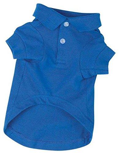 Zack & Zoey Cotton Polo Dog Shirt, Medium, 16-Inch, Nautical Blue