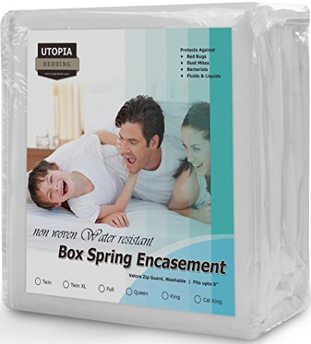 Zippered Box Spring Encasement Ample Zipper Opening for Easy Use - Water Resistant Cover, Ultimate Protection against Insects, Dust Mites and Allergens (Full) by Utopia Bedding (Low Profile Mattress Encasement compare prices)