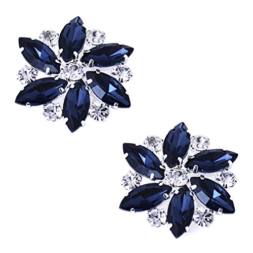 ElegantPark AJ Shoes Dress Hat Accessories Fashion Rhinestones Crystal Shoe Clips 2 Pcs Navy Blue