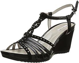Geox D New Rorie C, Sandales compenses femme - Noir (Black), 38 EU