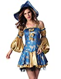 RedExtend Cosplay Costumers Court Dress 3 Pieces Set Hat +Sling Dress +Sleeves