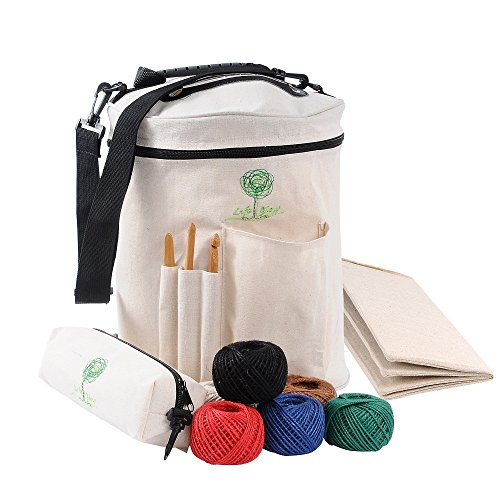 Knitting Bag Yarn Storage Tote Organizer for Carrying Skeins, Knitting Needles and Crochet Hooks (Crochet Organizer Tote compare prices)