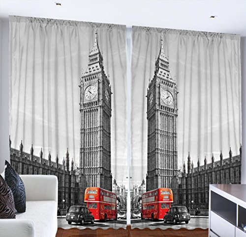 European Cityscape London Decor Big Ben Elizabeth Clock Tower Westminster Palace Double Decker Red Bus Routemaster Vintage British For Bedroom Living Kids Youth Room Curtains 2 Panels, 108x90 Gray Red (British Window Curtains compare prices)