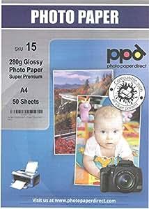 A4 Inkjet (Jet d'encre) Premium Papier Photo Glacé - Haute densité - 280gsm x 50 Feuilles