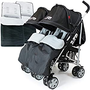 ZETA VOOOM Twin Double Stroller - Black (+ x2 Footmuffs) from Baby Travel®