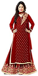 Lebaas Semi-Stitched Red Designer Party Dress (With Discount and Sale Offer)