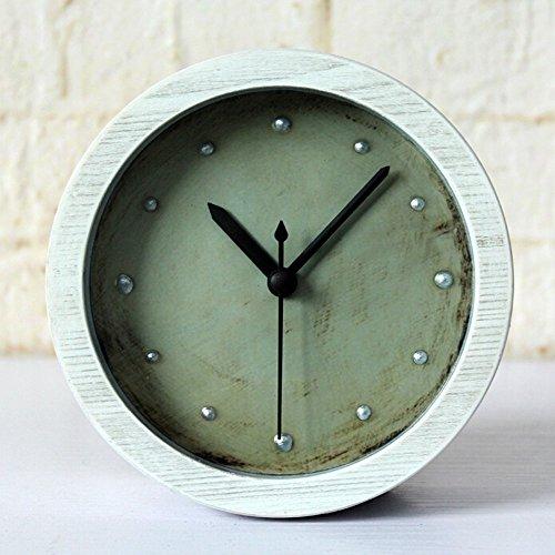 Alrens_DIY(TM) 3 Colors Silent Rivet Retro Wood Pattern Clock Silent Non-ticking Desk Wall Clock Vintage Alarm Clocks Table Clock Desk Cloks Home Decoration (White)