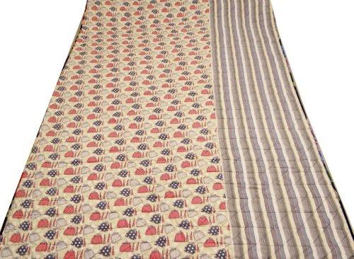 Algodón Beige Twin Size colcha hecha a mano Dedspread reverssible decorativo Diseñador indio Gudri 84