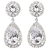 FC Clear Teardrop Dangle Pave CZ Bridal Wedding Swarovski Elements Crystal Earrings Prong-set Silver Tone
