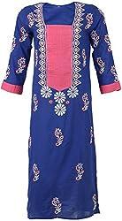 ALMAS Lucknow Chikan Women's Cotton Regular Fit Kurti (Royal Blue)