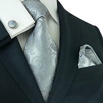 Landisun 161 Dark Gray Paisleys Mens Silk Tie Set: Tie+Hanky+Cufflinks Exclusive