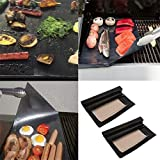 2pcs BBQ Grill Mat Cooking Outdoor Reusable Non-stick Surface Pad Barbecue OE