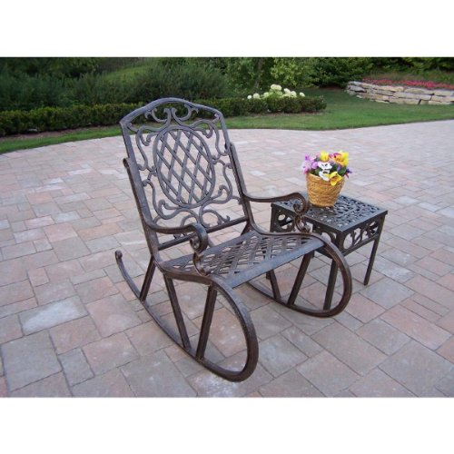 Oakland Living Mississippi Cast Aluminum 2-Piece Rocking Set In Antique Bronze With 18-Inch Side Table front-996186