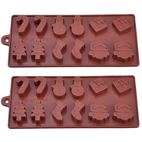 Dxg 2 Pack Silicone Christmas Chocolate Molds, Cake Candy Jelly Ice Tray Mould, Coffee