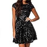 828 - Plus Size Cap Sleeves Sequins Skater Cocktail Club Dress Black