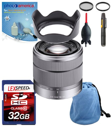 Sony Alpha Nex Sel1855 E-Mount 18-55Mm F3.5-5.6 Oss Lens (Silver) + Deluxe Accessory Kit [Frustration-Free Packaging]