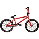 "20"" BMX Bike Red Hi-Ten steel Alloy rear U-Brake plastic/nylon pedals"