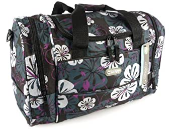 "Hi-Tec Ladies 18"" FLORAL HOLDALL GYM TRAVEL Hand Luggage BAG 4 Colours (Black)"