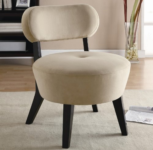 exposed wood cream microfiber accent chair by coaster