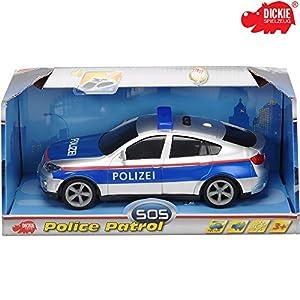 Dickie Polizei Fahrzeug mit Friktionsantrieb, Licht und Sound, ca. 20 cm || Spielzeug Einsatzwagen Auto Polizeiwagen Streifenwagen Soundfunktion