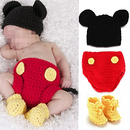 Elee Baby Crochet Knit Mouse Costume Set Photo Prop Hat Diaper Shoes