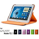 Samsung Galaxy Note 10.1 Case, GMYLE(R) Folio Case 360 for Samsung Galaxy Note 10.1 N8000 - Orange PU Leather 360 Degree Rotating Swivel Folio Case Cover (With Adjustable Multi Angle Stand)