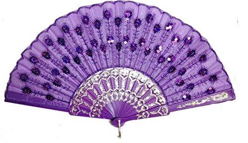 Purple Spanish Style Dance Party Purple Lace Sequins Flower Folding Hand Held Fan