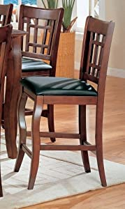 (Set of 2) Counter Height Bar Stools in Dark Cherry with Vinyl Seat by Coaster Home Furnishings