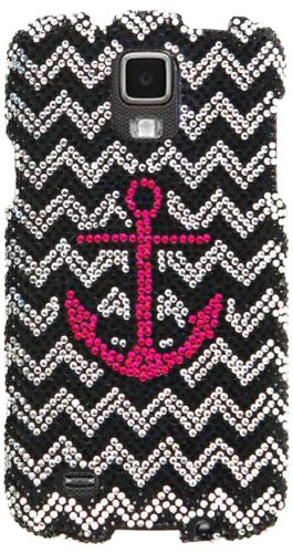 Cell Armor Snap Case for Samsung Galaxy S4 Active i9252 - Retail Packaging - Pink Anchor/B&W Chevron