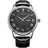 SONGDU Mens Day Date Dress Watch Black With Roman Numeral And Calfskin Leather Strap 37M-2B