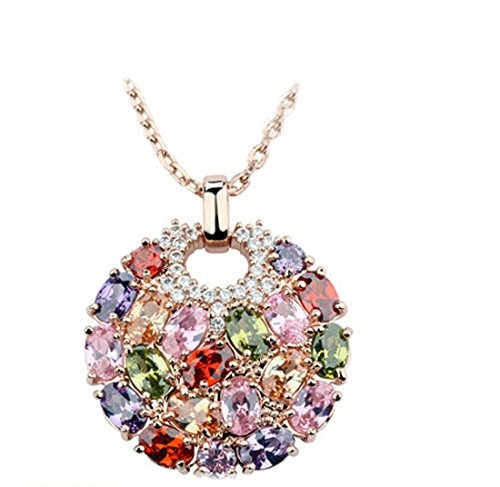 Bamoer Bohemian Style Rose Gold Plated Round Pendant Necklace For Women Sparkling Multi Color AAA Cubic Zirconia Inlaid