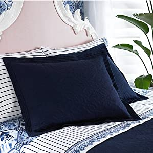 lauren by ralph lauren palm harbor navy blue quilted euro sham pillow shams. Black Bedroom Furniture Sets. Home Design Ideas