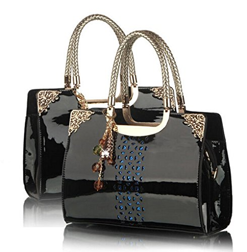 Women Fashion PU Leather Top Handles Tote Handbag with Removabel Strap (Black) (Hermes Jelly Bag compare prices)