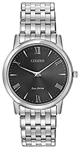 Citizen Watch Stiletto Men's Quartz Watch with Black Dial Analogue Display and Silver Stainless Steel Bracelet AR1120-50F