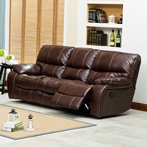 Ewa Brown Leather Air Reclining Sofa Loveseat And Rocker Recliner
