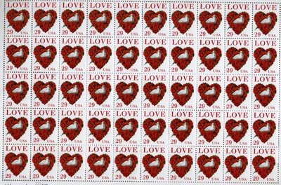 Love and Dove Full Sheet of 50 x 29 cent US Postage Stamps Scot #2814